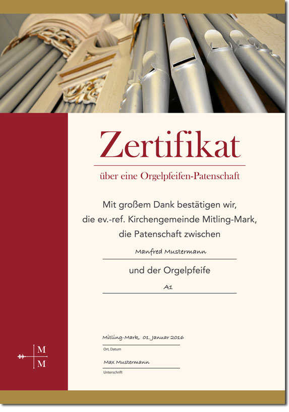 Zertifikat Orgelpfeifenpatenschaft | Kirche Mitling-Mark